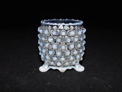 Eapg White Opalescent Hobnail Three Footed Toothpick Holder Free Usa Ship