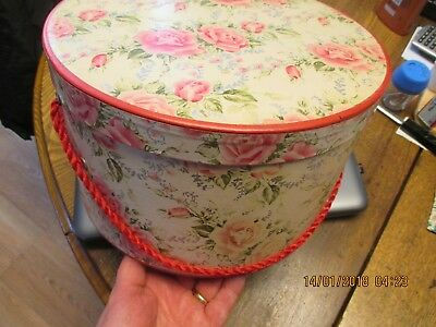 Charming 1940s Vintage Flower Wallpaper Hatbox Pink Floral Lid & Red Handle VG