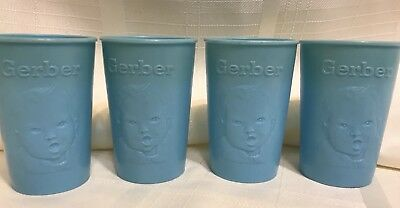 Four Vintage Light Blue Gerber Products Baby Face CUPS Plastic USA 1950s-1960s
