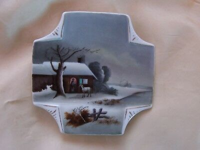 Antique Folk Art Hand painted Plate Horse and Farmer Winter Evening Scene Stable
