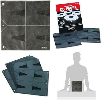 CD DVD Storage Double Side Pages Sleeves Fit 3 Ring Binder 25 Sheets - Vaultz