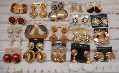 Retro chic, Mod Vintage Lot of Vintage Retro Chic Earrings,Pierced Earrings,Gold