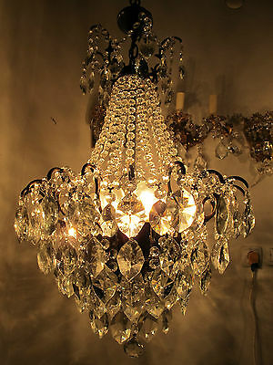 Antique Vnt French Big Spider Style Crystal Chandelier Lamp 1940s 19in diametr--