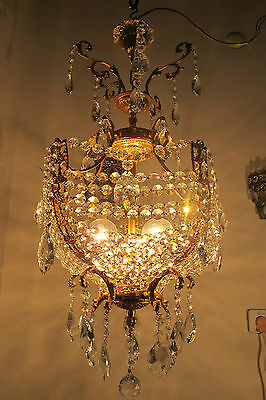 Antique VNT French HUGE Empire Style Swarovski Crystal Chandelier Lamp 1940s---