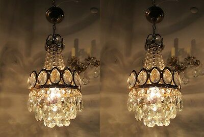 A Pair of Antique Vintage Basket Style Mini Chandelier lamp 1960s 8 in dmtr