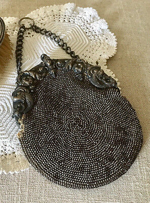 Antique Victorian GERMAN SILVER SMALL BEADED Purse with Lady Head