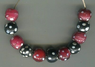 African Trade beads Vintage Venetian old glass beads nice mixed red black skunk