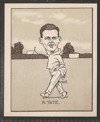 Hill-Caricatures Of Famous Cricketers (Large Card)-#23- Sussex - Tate