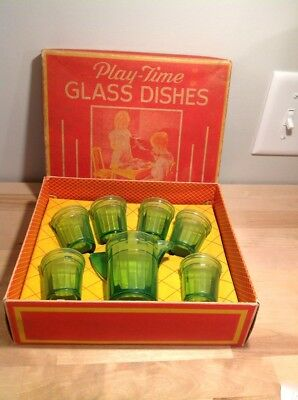 Vintage Play Time Akro Agate Green Toy Water Set Mint Inbox