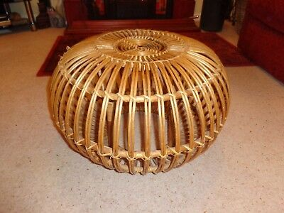 Vintage 1960's large FRANCO ALBINI Wicker Cane Ottoman Lobster Pot Foot Stool