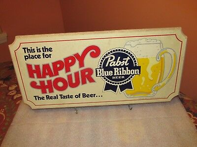 "PABST BLUE RIBBON  Beer Sign ""This is the place for HAPPY HOUR"" 1983 (VERY COOL)"
