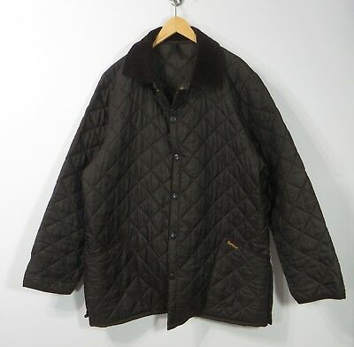 Barbour England Liddesdale Nylon brown men's quilted jacket Snap Buttons Large L