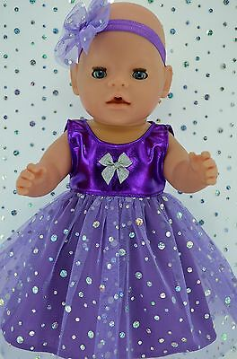 "Play n Wear Doll Clothes To Fit 17"" Baby Born PURPLE SEQUIN DRESS~HEADBAND"