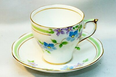 Roslyn Tea Cup and Saucer China~Fine Bone~Hand Painted~Made in England~Gold Trim