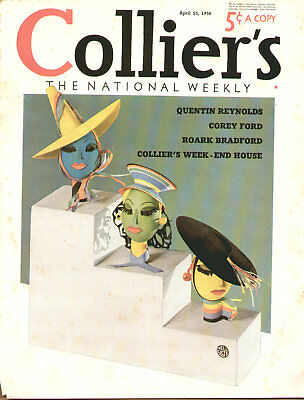 1938 Cover Only Colliers Colorful Hats Art By Nell Spots
