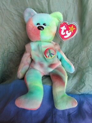 TY Beanie Babies Baby - PEACE the Ty-Dyed Teddy Bear Tie Dyed MWMT
