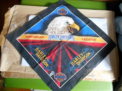 Vintage Official USA Made Poly/Cotton Harley-Davidson Screaming Eagle Bandana