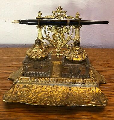 Vintage Victorian Art Nouveau Ornate Bronze Brass Double Inkwell & Pen Holder