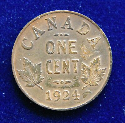 Canada 1924 George V Cent, Slightly Better Date, Cleaned.
