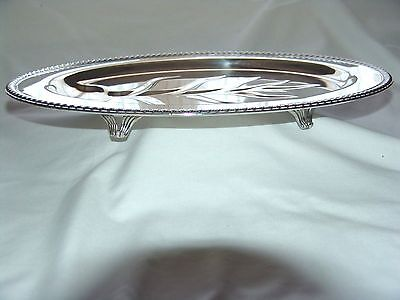 "Wm ROGERS SILVER FOOTED MEAT SERVING TRAY TREE WELL GADROON  BORDER # 810  16""L"