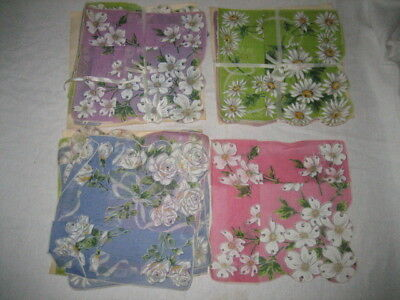 Lot of 12 Vintage New Ladies Hankies Handkerchiefs with Flowers 14 Inch Square