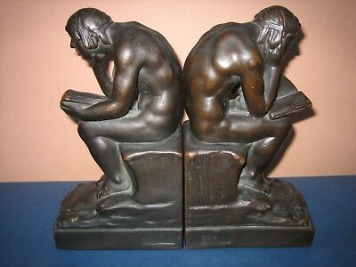 Antique Bronze Bookends Signed Beneduce 1922 Nude Reading Book