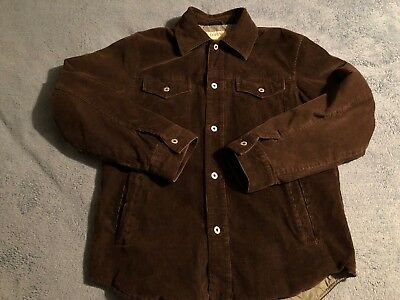 J Crew Mens Medium Brown Curdoroy Lined Shirt Jacket