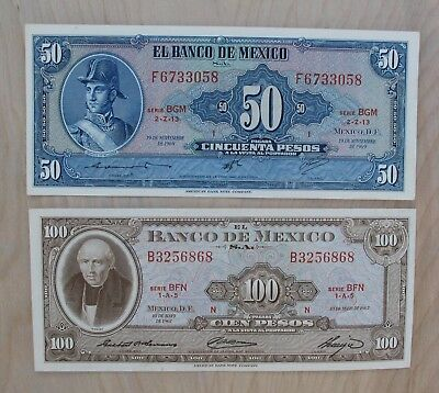 Mexico Banknote 50 100 Pesos Currency 1967 1969 - aUNC / UNC