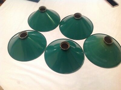 Vintage Metal Tin Industrial Lamp Shades, green