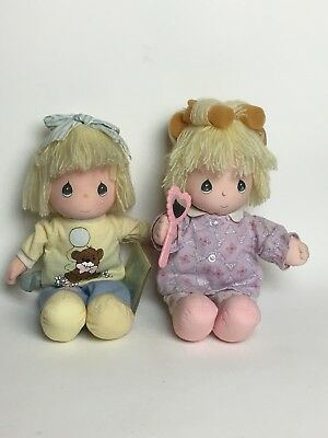 2 Vtg Precious Moments Dolls Applause Wind Up Musical w/ Mirror/Curlers Phone