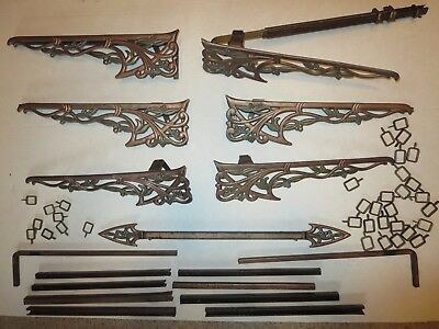 Antique Art Deco Decorative Curtain Pieces with Expanding Rods and Rings