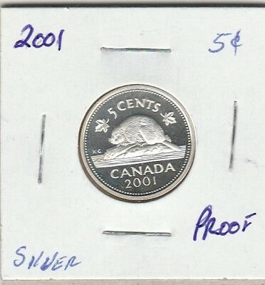 2001 Silver Proof Five Cent Coin