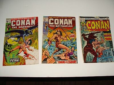 Conan The Barbarian #1 Vg/fn 1970 First Issue Barry Smith, Plus Issues #9, #31