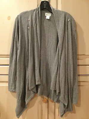 Motherhood Maternity Nursing Sweater S/M Grey Wrap Cardigan Buttons-Preowned