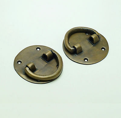Set of 2 pcs Vintage Western Round Ring Solid Brass Cabinet Drawer KNOB Pulls