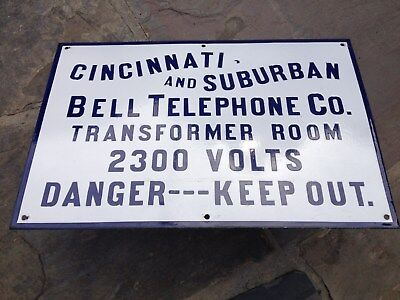 Cincinnati & Suburban Bell Telephone Electrical Keep Out Antique Porcelain Sign