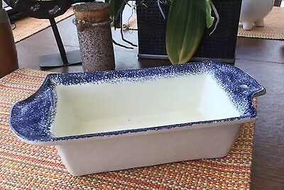 Spongeware Bread Loaf Vintage 1987  Baking Dish Blue and White by Flat Earth