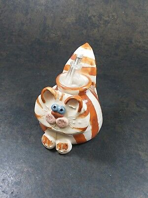 Clay Folk Art Orange & White Striped Cat Oil Lamp Lantern