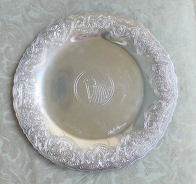 Vintage Egyptian Air Company Arabic Islamic Etched Sterling Platter Tray 18Oz