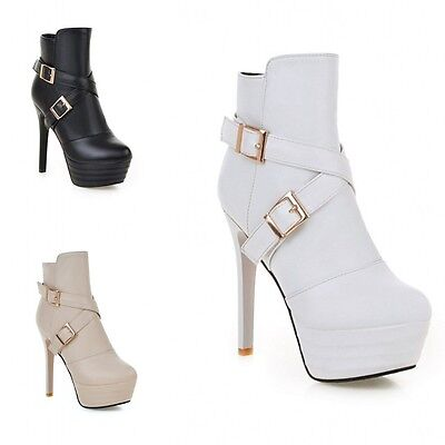 2d6bc8f6255 New Fashion Womens Buckle Zip Ankle Boots Platform Stiletto High Heels Shoes