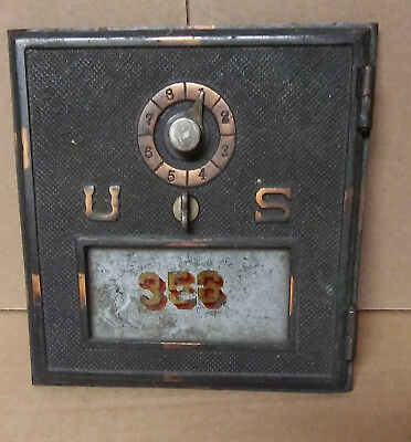 Vintage Brass US Post Office Box Door Antique USPS With Glass