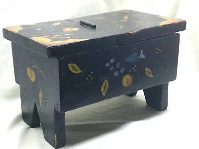 Vintage Early American tramp folk art Shoe Shine Box hand painted unique