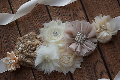 Sash, neutral color Sash , #5, flower Belt, maternity sash