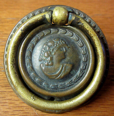 Victorian antique ornate round drawer drop bail pull handle embossed woman face