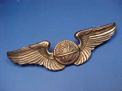 WW2 Sterling Silver US Army Air Force Navigator Wings Badge Pin ID John E Hewitt