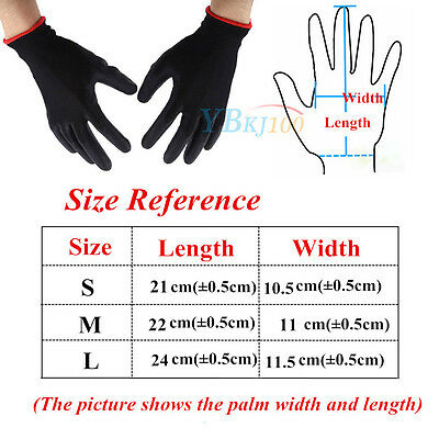 12 Pairs Black Nylon PU Coated Safety Work Gloves Safety Garden Grip Builders JS