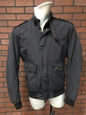 BARBOUR Mens Black T886 Steel Flyer Jacket size MEDIUM