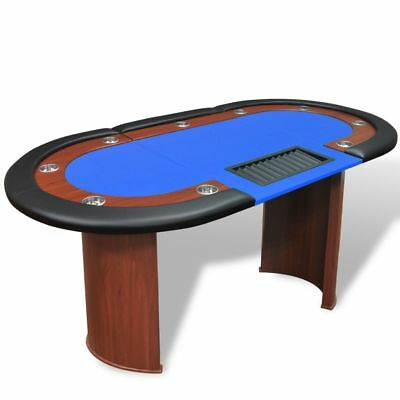 10-Player Poker Casino Card Game Table Leather with Dealer Area and Chip Tray US