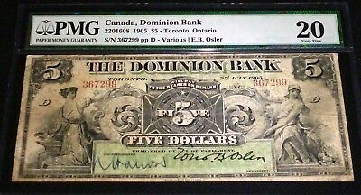 The Dominion Bank; 1905 $5 Ch # 220-16-08, Pmg 20 -3Rd Highest Pmg Grade