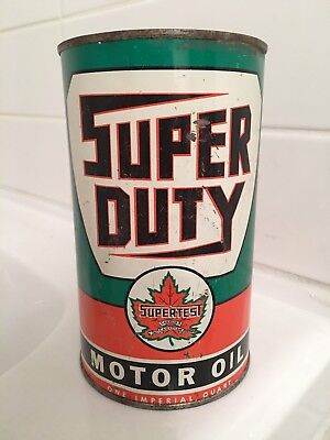 Supertest Super Duty Motor Oil Can Quart. Canadian Imperial tin can not sign